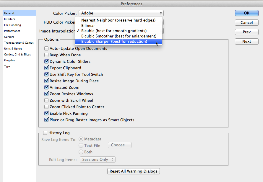 Screenshot of photoshop preferences
